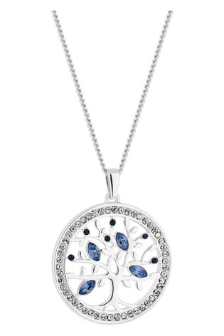 Simply Silver Sterling Silver 925 Blue Tree Of Life Necklace Embellished With Swarovski Crystals