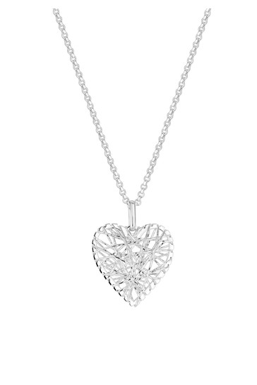 Simply Silver Sterling Silver 925 Diamond Cut Mesh Wrap Heart Necklace