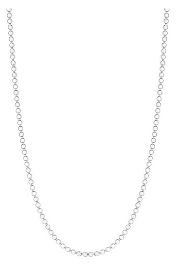 Simply Silver Sterling Silver 925 Polished Flat Bead Necklace