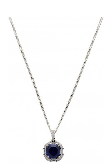 Simply Silver Sterling Silver 925 Navy Blue Cubic Zirconia Crystal Necklace
