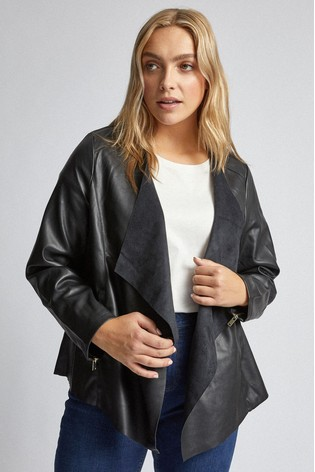 Dorothy Perkins Curve PU Collar Waterfall Jacket