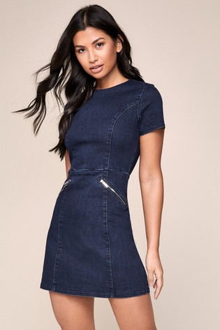Lipsy Blue Denim skater Dress