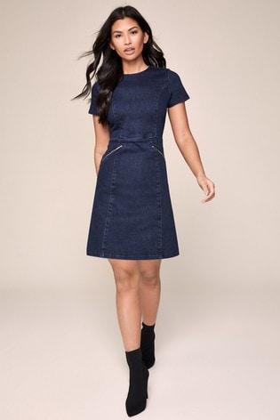 Lipsy Blue Denim skater Dress
