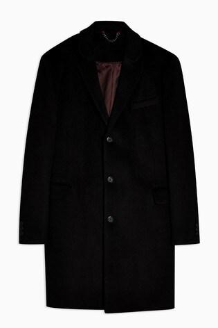 Topman Black Single Breasted Coat