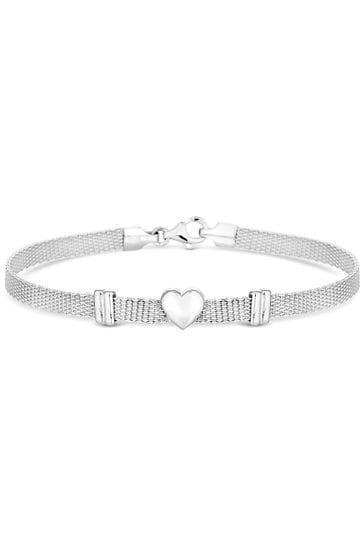 Simply Silver Sterling Silver 925 Polished Heart Mesh Bracelet