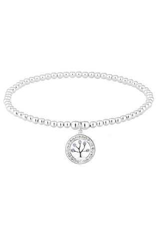 Simply Silver Sterling Silver 925 Blue Tree Of Life Bracelet Embellished With Swarovski Crystals