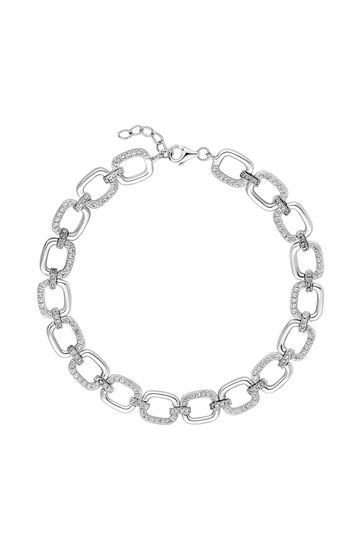 Simply Silver Sterling Silver 925 White Cubic Zirconia Link Bracelet