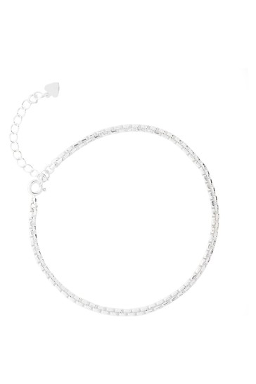 Simply Silver Sterling Silver 925 Polished Box Chain Bracelet