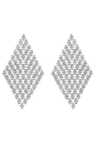 Mood Silver Plated Crystal Diamante Diamond Shape Chandelier Earrings