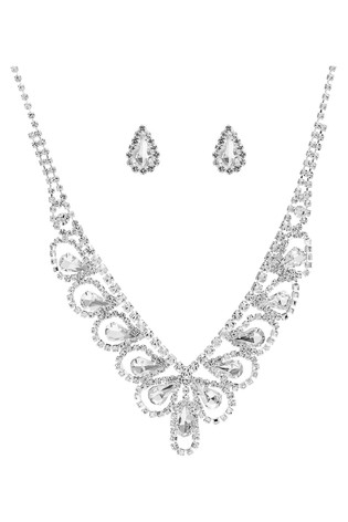 Mood Silver Plated Crystal Statement Necklace And Earring Set - Gift Boxed