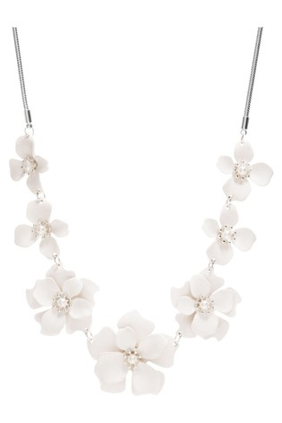 Mood Silver Plated White Flower Necklace
