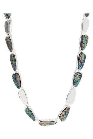 Mood Silver Plated Abalone Inlay Beaded Necklace