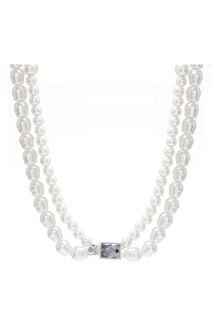 Mood Silver Plated Pearls Baroque Pearl 2 Row Necklace