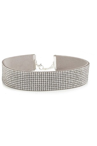 Mood Silver Plated Crystal Wide Diamonte Choker Necklace