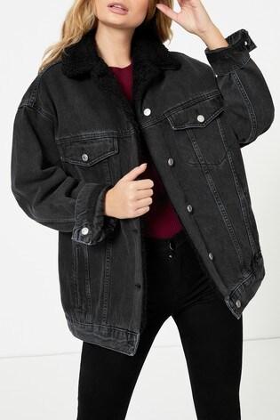 Topshop Black Borg Coat