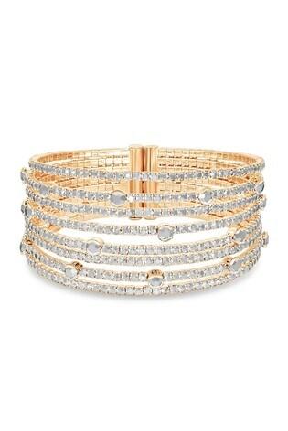 Mood Gold Plated Crystal Diamante Cuff Bracelet