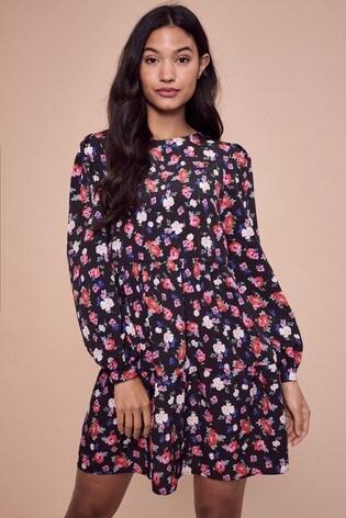 Lipsy Black Floral Smock Dress