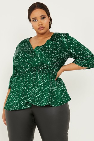 Quiz Curve Lace Panel Wrap Top