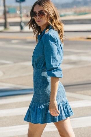 Lipsy Lightweight Denim Shirred Shirt Mini Dress