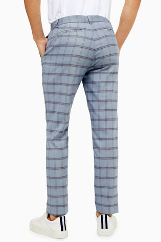 Topman Blue Check Skinny Trousers