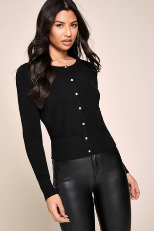 Lipsy Black Diamanté Button Cardigan