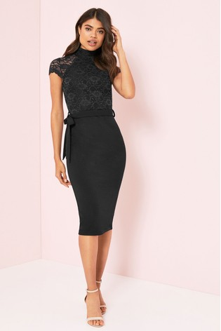 Lipsy Black Petite Lace High Neck Midi Dress
