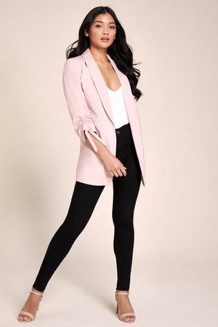 Lipsy Pink Ruched Sleeve Blazer