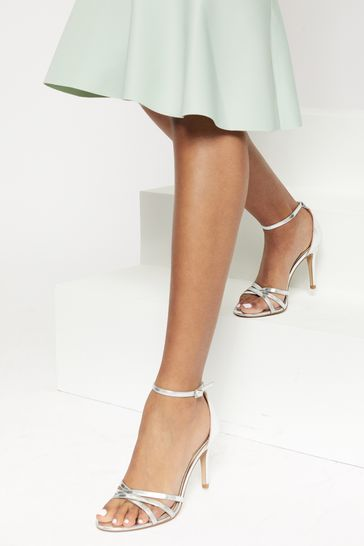Lipsy Silver Barely There Heeled Sandal