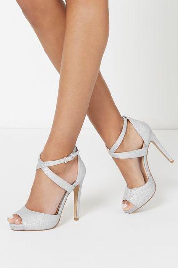 Lipsy Silver Cross Over Concealed Platform Heels