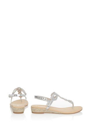 Lipsy Silver Elevated Plaited Sandals