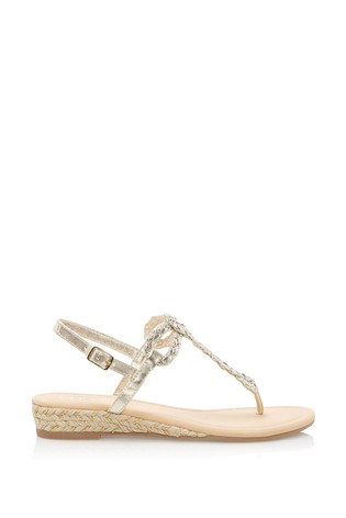 Lipsy Gold Elevated Plaited Sandals
