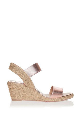 Lipsy Rose Gold Low Espadrille Wedges