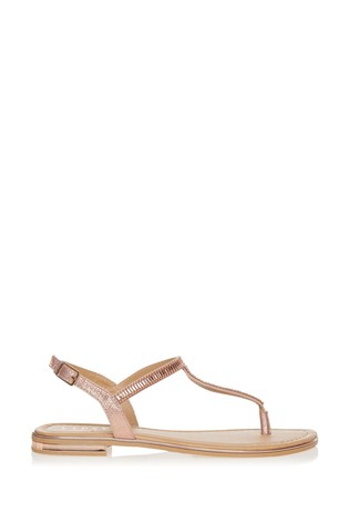 Lipsy Rose Gold Diamante Flat Sandals
