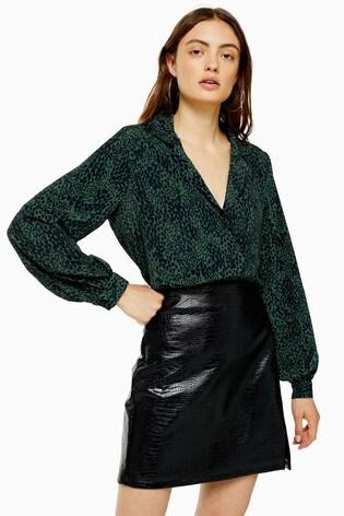 Topshop Tall Crocodile PU Split Mini Skirt