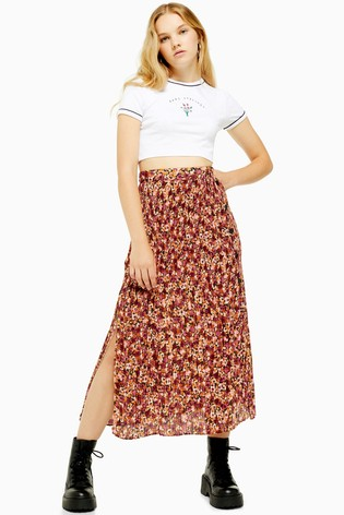 Topshop Tall Floral Crystal Pleat Skirt