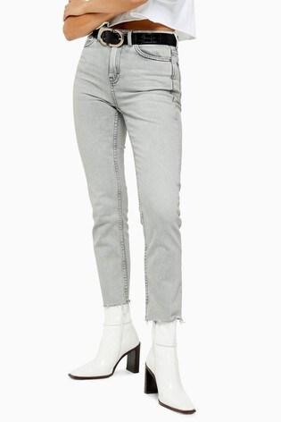 "Topshop Raw Hem Straight Jeans 30"" Leg"