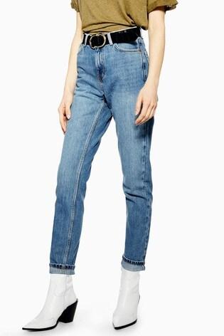 "Topshop Mom Blue Jeans 30"" Leg"