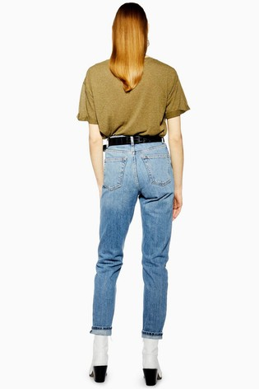 "Topshop Light Wash Rip Mom Jeans 32"" Leg"