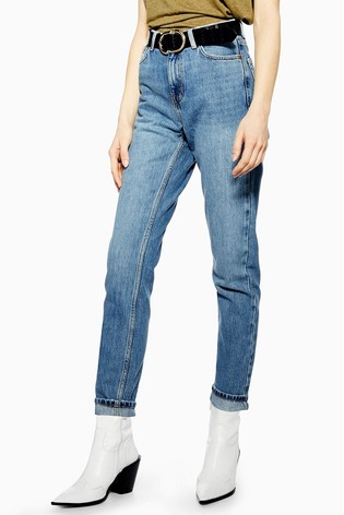 "Topshop Mid Wash Mom Jeans 34"" Leg"