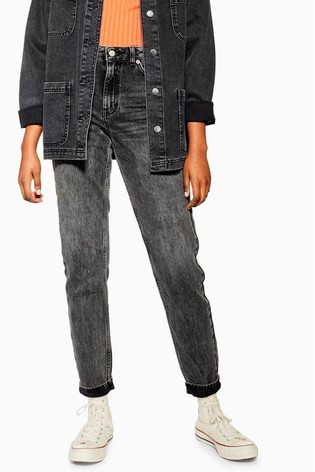 "Topshop Mom Black Jeans 30"" Leg"