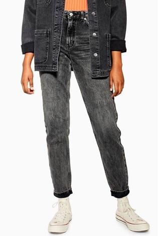 """Topshop Washed Black Mom Jeans 34"""" Leg"""