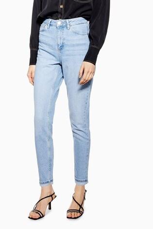 "Topshop Mom Light Wash Jeans 30"" Leg"