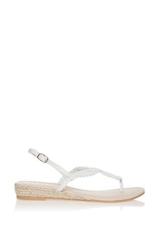 Lipsy White Elevated Plaited Sandal