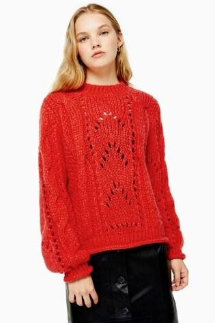 Topshop Orange Knitted Lofty Jumper