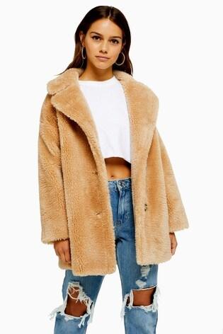 Topshop Petite Camel Borg Jacket