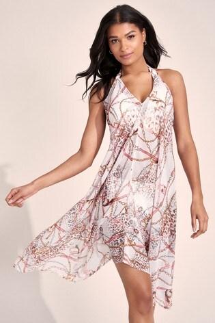 Lipsy Brown Floral Printed Mix Dress