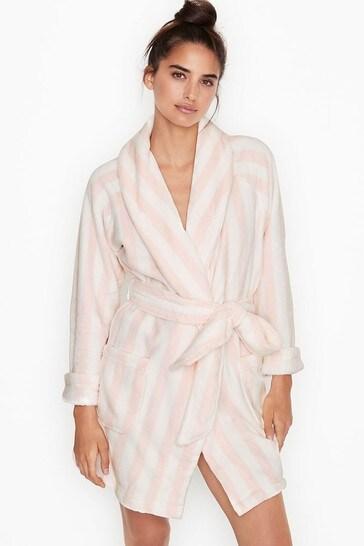 Victoria's Secret Pink Stripe Logo Short Cozy Robe