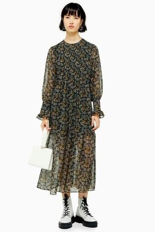 Topshop Paisley Smock Midi Dress With Pintuck