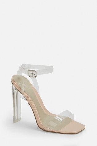 Missguided Square Toe Perspex Barely There Heel