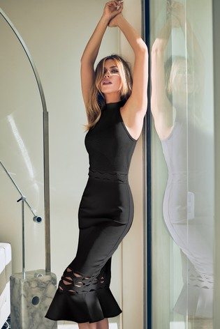 Abbey Clancy x Lipsy Flute Hem Halterneck Dress